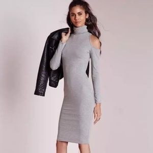 Missguided Jersey Cold Shoulder Gray Dress